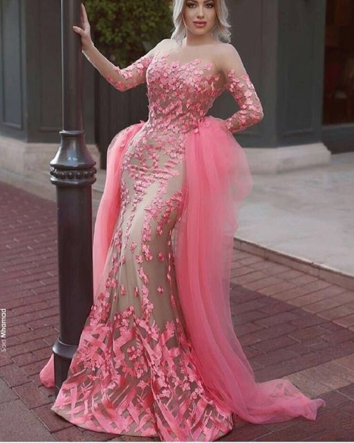 Gorgeous long sleeves muslim evening dress Arabic pink mermaid evening dress  with train lace long prom dress party formal gown 182 a3f602f6941c