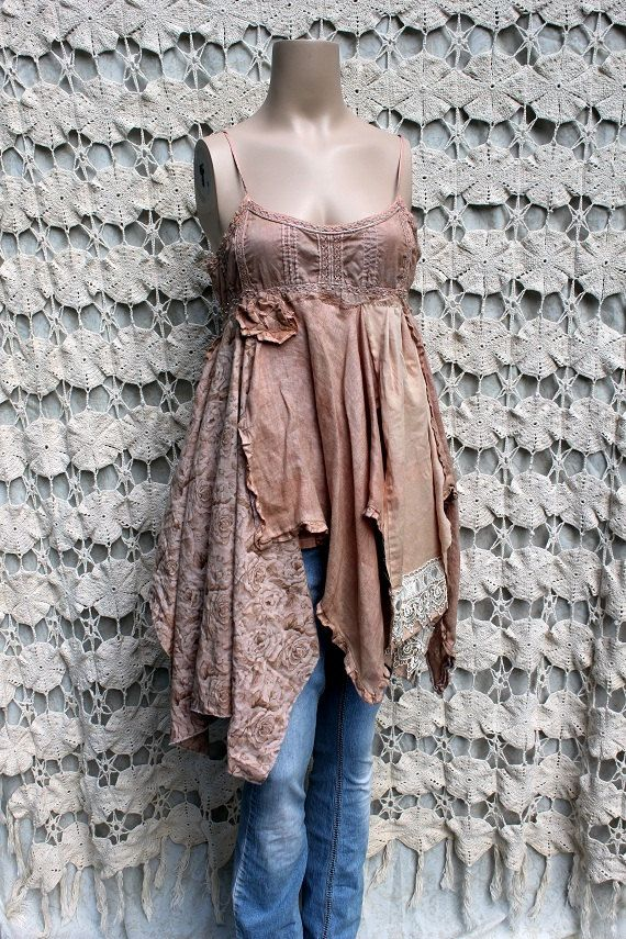 Women's Upcycled Cotton Camisole-- #Shabby Chic ---#Junk Gypsy