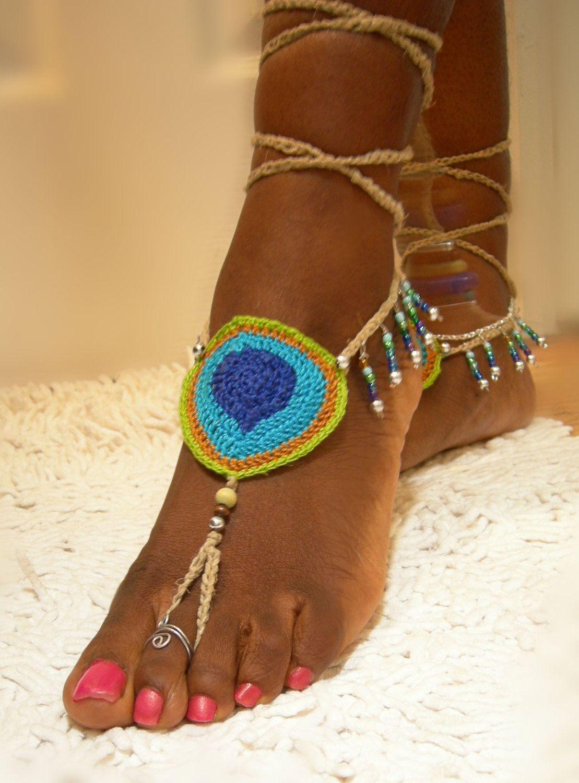 Peacock Steps- Hemp Crochet Barefoot Sandals Sandalias