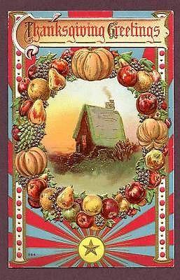 Vintage Thanksgiving Postcard - Farmhouse - Fruit - Colorful - Cambridge Vermont