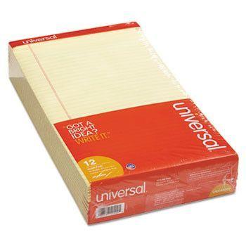 Perforated Edge Writing Pad, Legal/margin Rule, Legal, Canary, 50-Sheet, Dozen