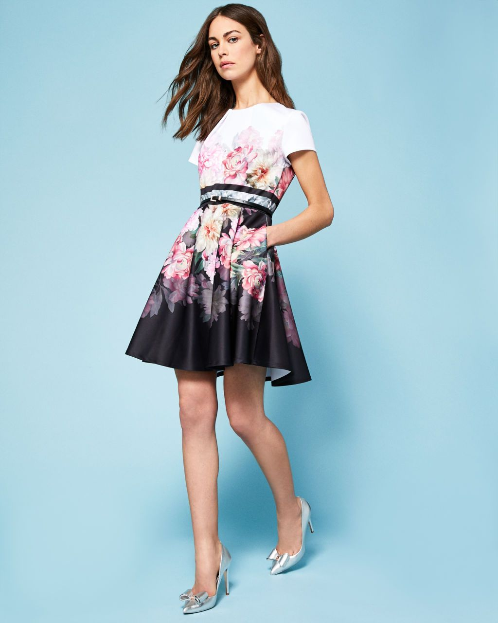 46c6af1284b1a Painted Posie skater dress - Baby Pink
