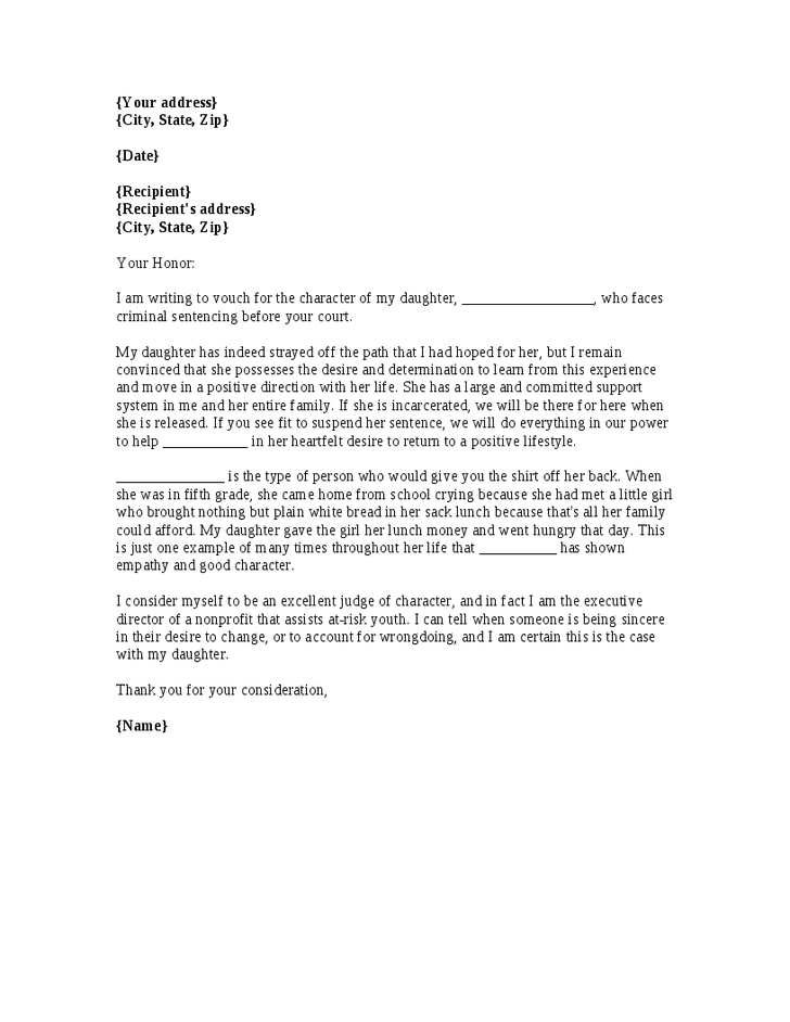 how to write a character reference letter for court template