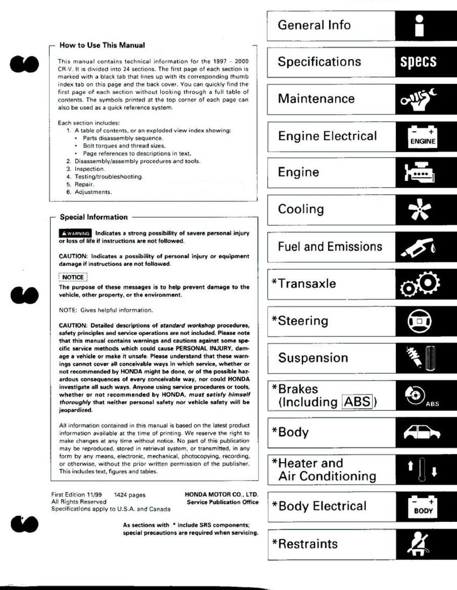 Honda CRV 97-00 Service Manual Honda Crv, Manual, Textbook, User Guide