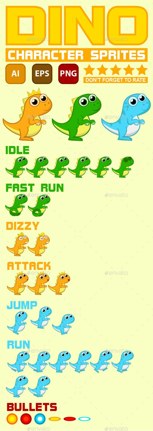 Dino Character Game Sprite is 100 vector and editable  What