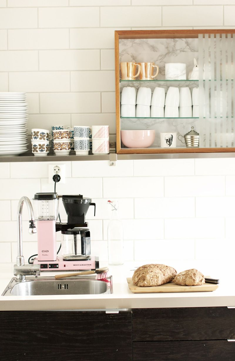 A touch of pink and I love that there's enough space to fit the coffee machine behind the sink.