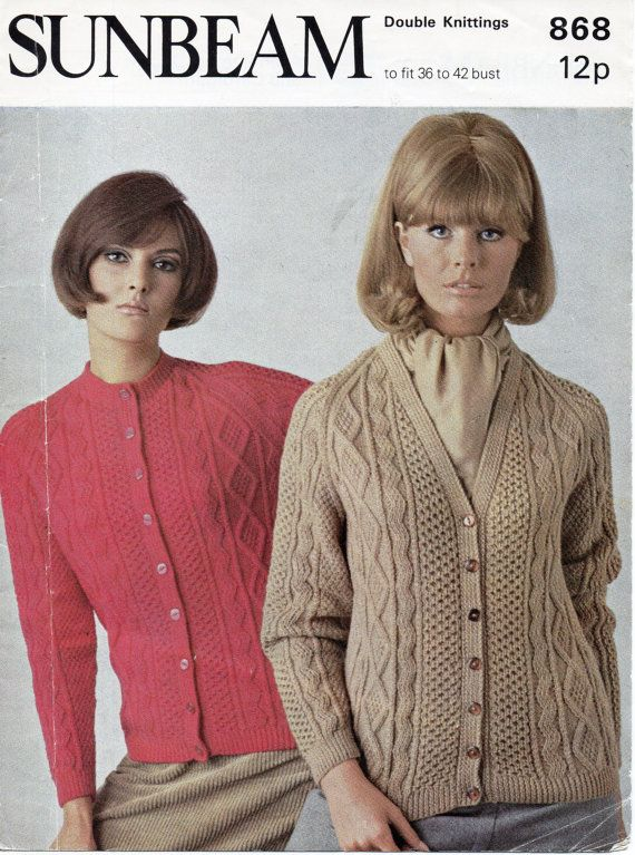 womens aran cardigans knitting pattern cable jackets 1970s ...