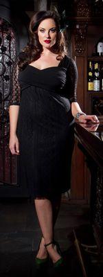Plus Size Black Lace Burlesque Dress
