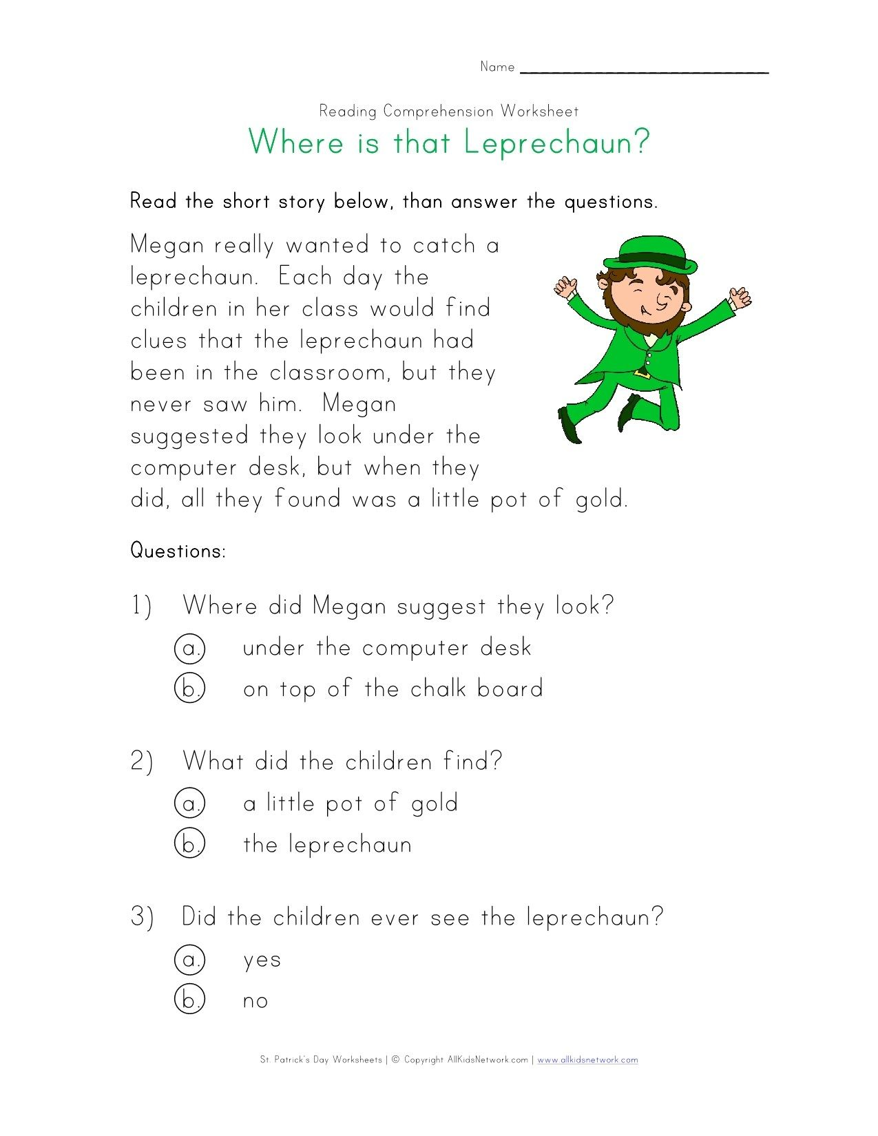 Leprechaun Reading Comprehension Worksheet