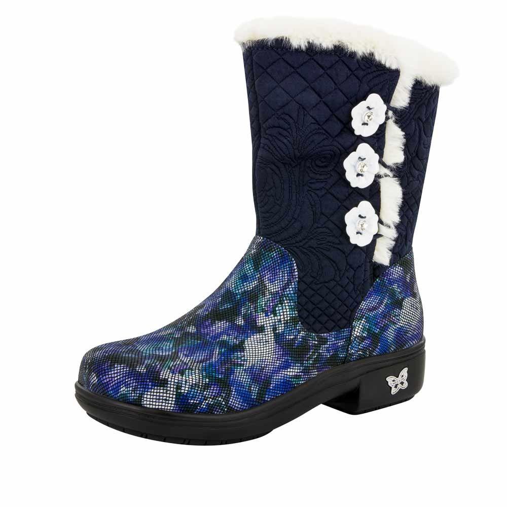 Alegria Nanook Winter Garden Navy Mid Calf Boot