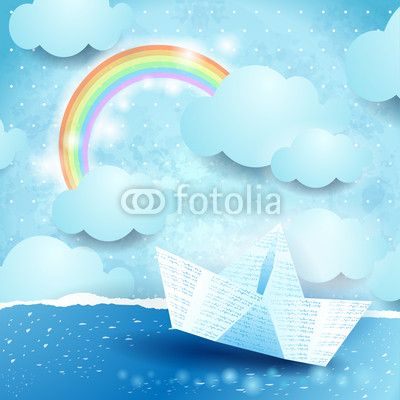 #Seascape and #paper_boat, #vector #stockimage