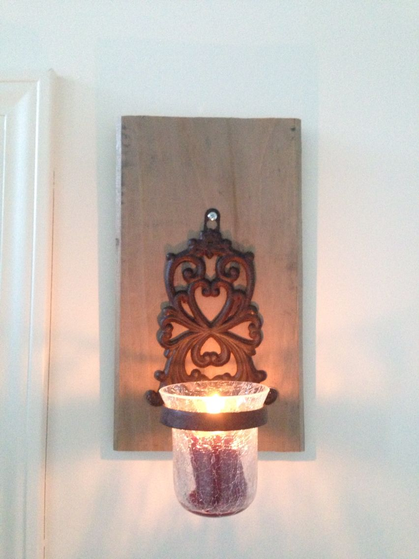 Piece of pine plank and a $5 candle holder from hobby ... on Hobby Lobby Wall Candle Sconces Wall Candle Holders id=45713