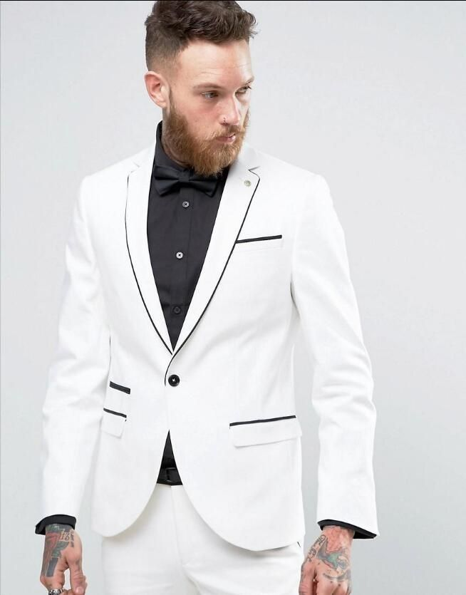 Latest Coat Pant Designs White Wedding Suits For Men Slim Fit ...