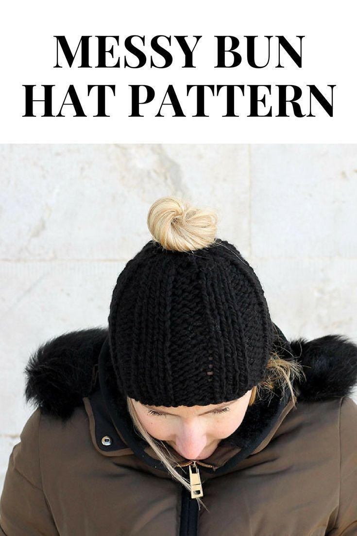 Easy Messy Bun Hat Free Knitting Pattern | Knitting (+ arm ...