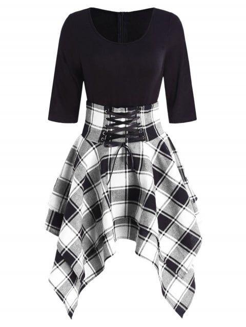 Photo of Lace Up Plaid Asymmetrical Dress – BLACK M