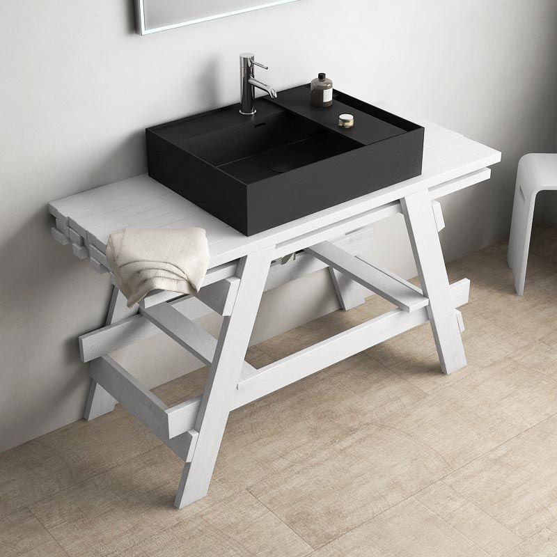 Ensemble meuble et vasque, 120 cm, bois massif, Noir, Chloe - Meuble Vasque A Poser Salle De Bain