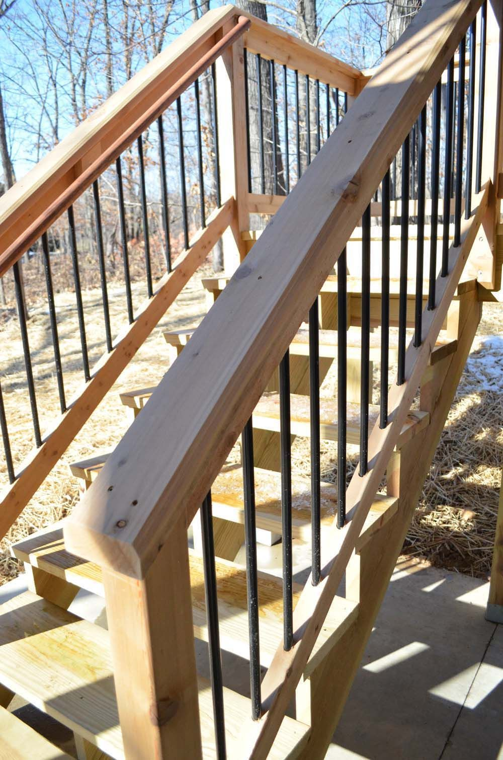 Deck Rail Cedar W/ Aluminum Spindles Deck Stair Railing, Exterior Stair  Railing,