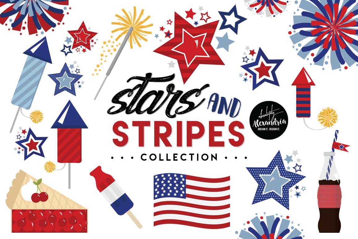 Stars Stripes Clipart Graphics Digital Paper Patterns Bundle Example Image 1 Pattern Paper Digital Paper Clip Art