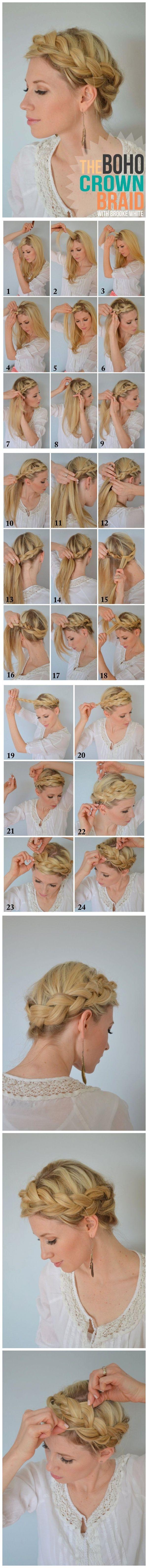 How to make boho crown braid tutorial hair pinterest crown