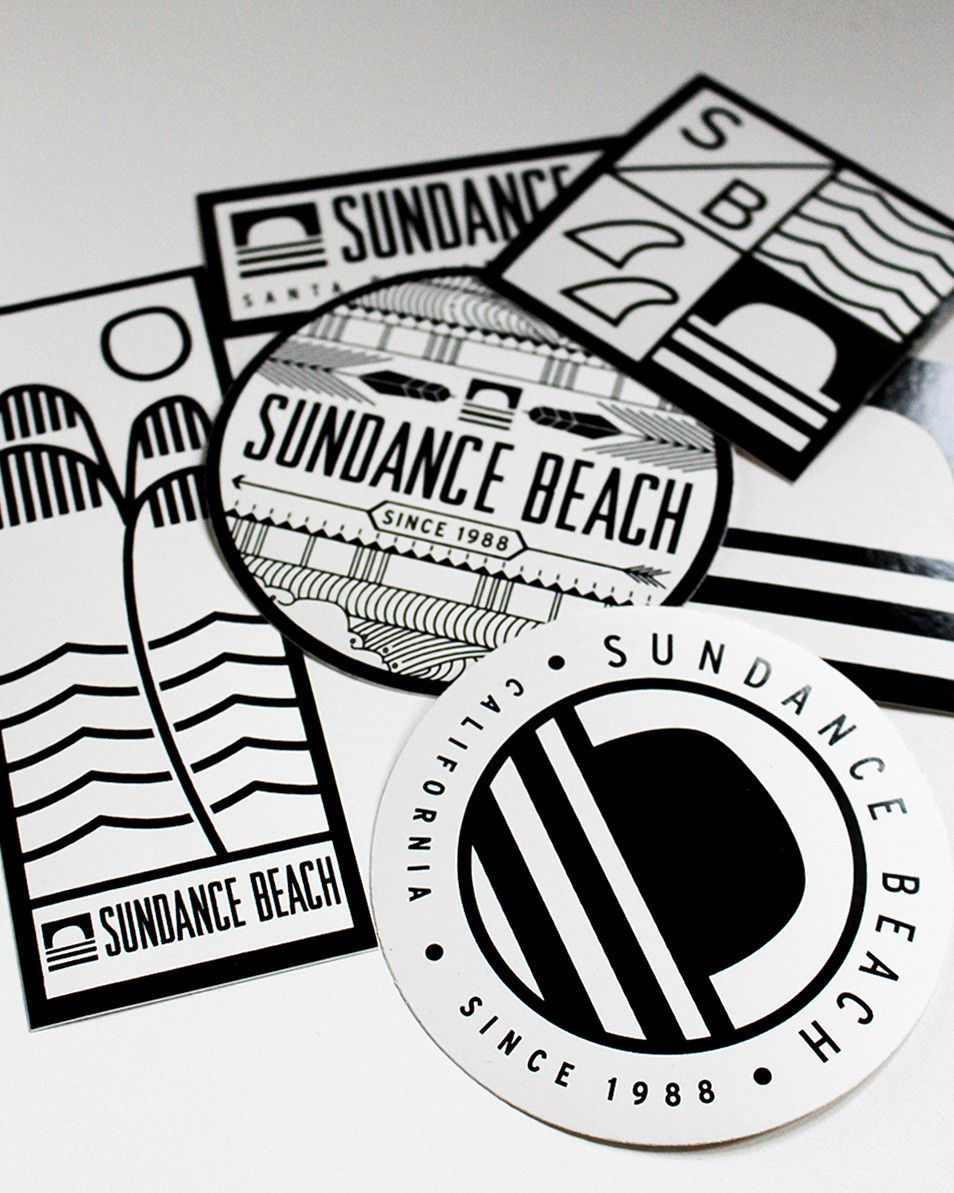 Sundance Beach Sticker Pack - Represent Santa Barbara surf culture and Sundance Beach with 6 different designed die-cut stickers and decals. Perfect to stick on your surfboard or skateboard.