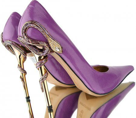 Snake Charmer Swarovski Stiletto Pumps Gianmarco Lorenzi Swarovski - Purple and gold