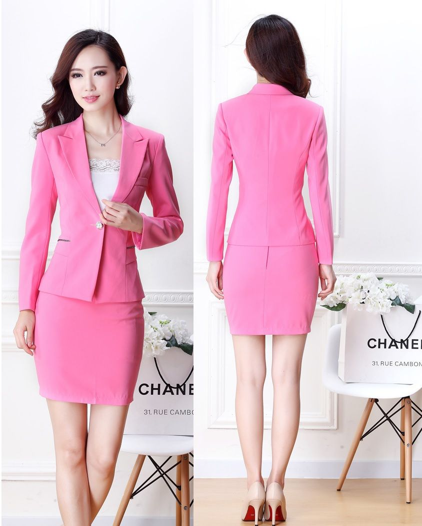 5b102bd65be New Elegant Pink Fashion Slim Uniforms Style Professional Office Ladies  Work Wear Suits For Business Women Blazers Outfits Set