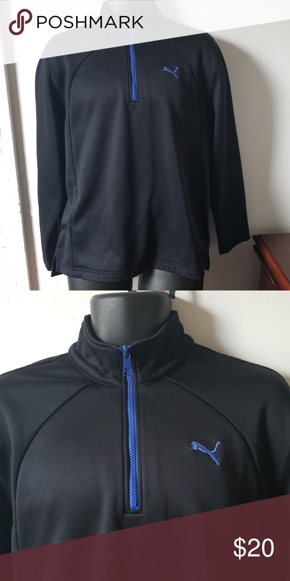 52e517d556b8 Puma pullover mens size medium. Puma Pullover Gently used Mens size medium  Black with blue logo and zipper Half zip 100% polyester Puma Sweaters