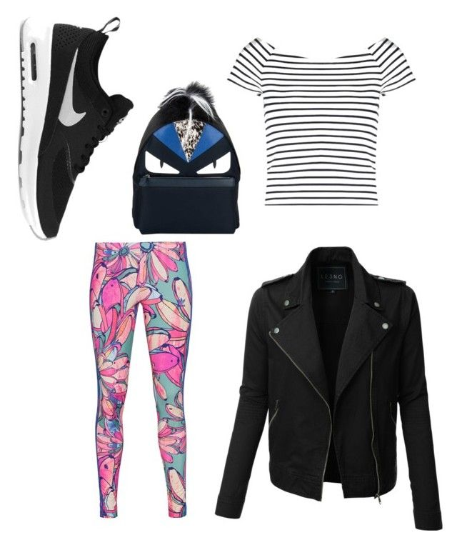 """""""Untitled #149"""" by potterhead640 on Polyvore featuring Lipsy, NIKE, LE3NO, adidas Originals and Fendi"""