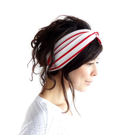 Tie Up Headscarf White with Red Stripes by ChiChiDee on Etsy, £12.00