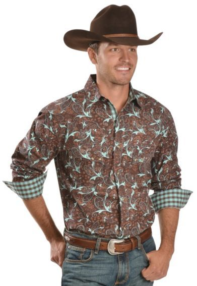 d5ce63cd721e1 Red Ranch Brown   Turquoise Paisley Western Shirt - Sheplers