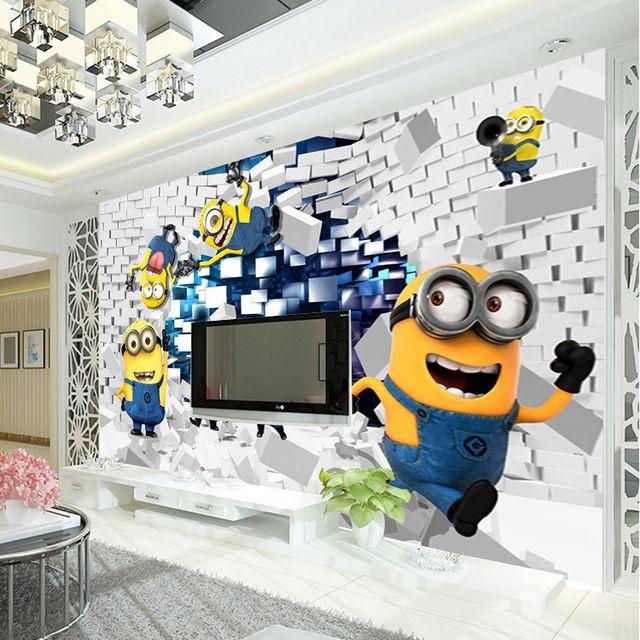 3D Minions Photo Wallpaper Cartoon Despicable Me Wall Mural Silk Boys Bedroom Kid Room Decor Art Home Decoration Funny