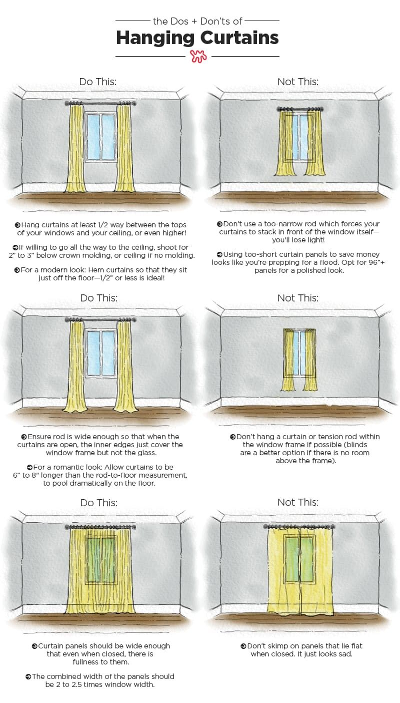 The Dos & Don'ts of Hanging Curtains: An Illustrated Guide #decoratingtips
