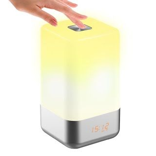 Tecboss Bedside Lamp Wake Up Light W Sunrise Simulation Alarm Clock 5 Natural Sounds Touch Control Color Change Dim Led Night Light Dimmable Led Bedside Lamp