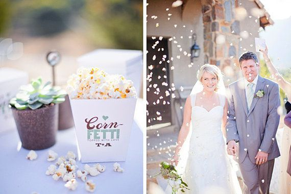 We love how biodegradable and unique this confetti idea is. Make it even more cool by added colors to the popcornfetti! Photo by Rensche Mari via Wedding Friends