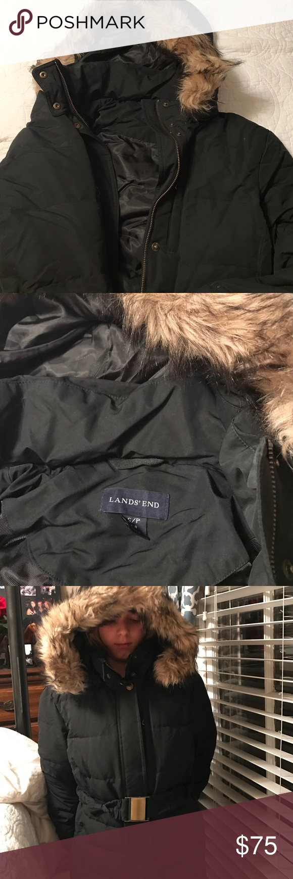 Lands end coat with hood and fake fur trim Lands end black coat with hood and fake fur trim. Size small petite lands end Jackets & Coats Puffers