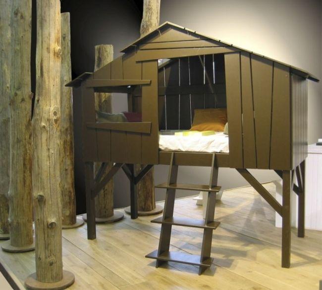 spielbett-kinderbett auf stelzen holz-zelt-modern design ideen ... - 33 Design Moderne Unisex Kinderbetten Jugendbetten