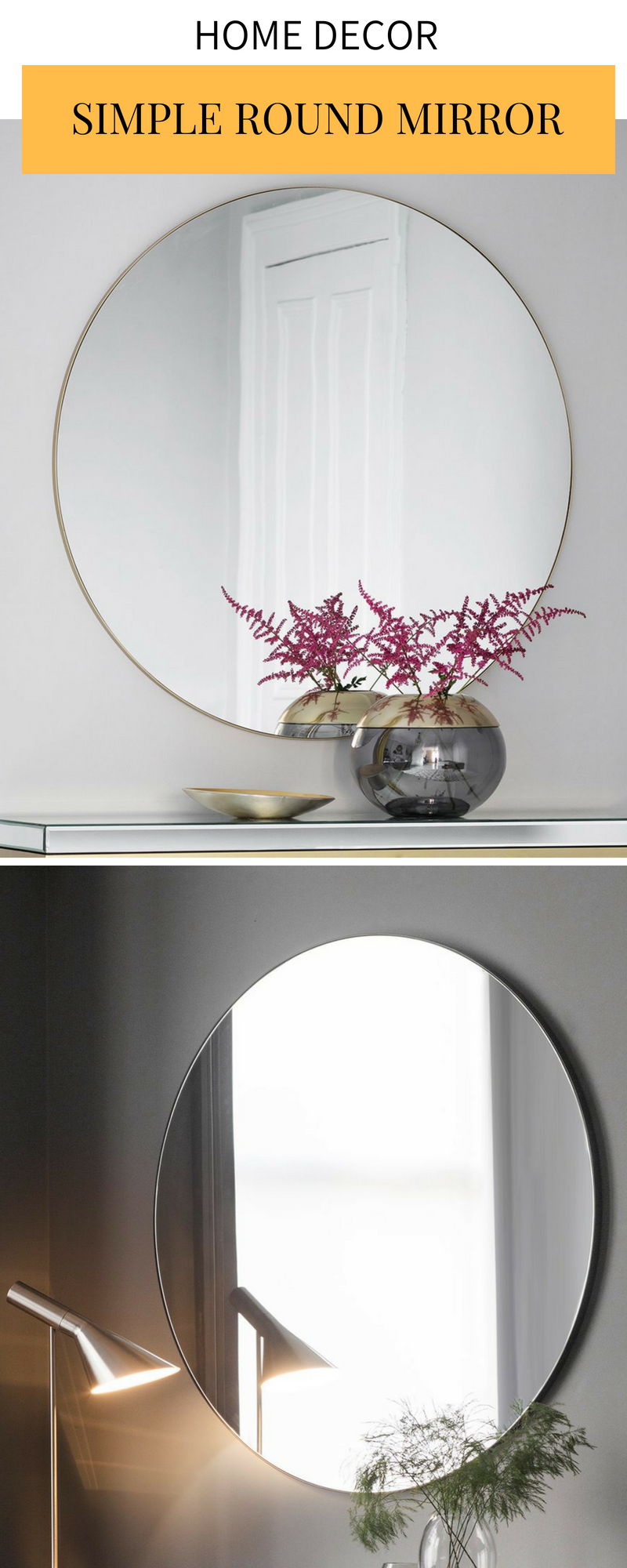 Round thin frame or frameless mirror | Decorating blogs ...