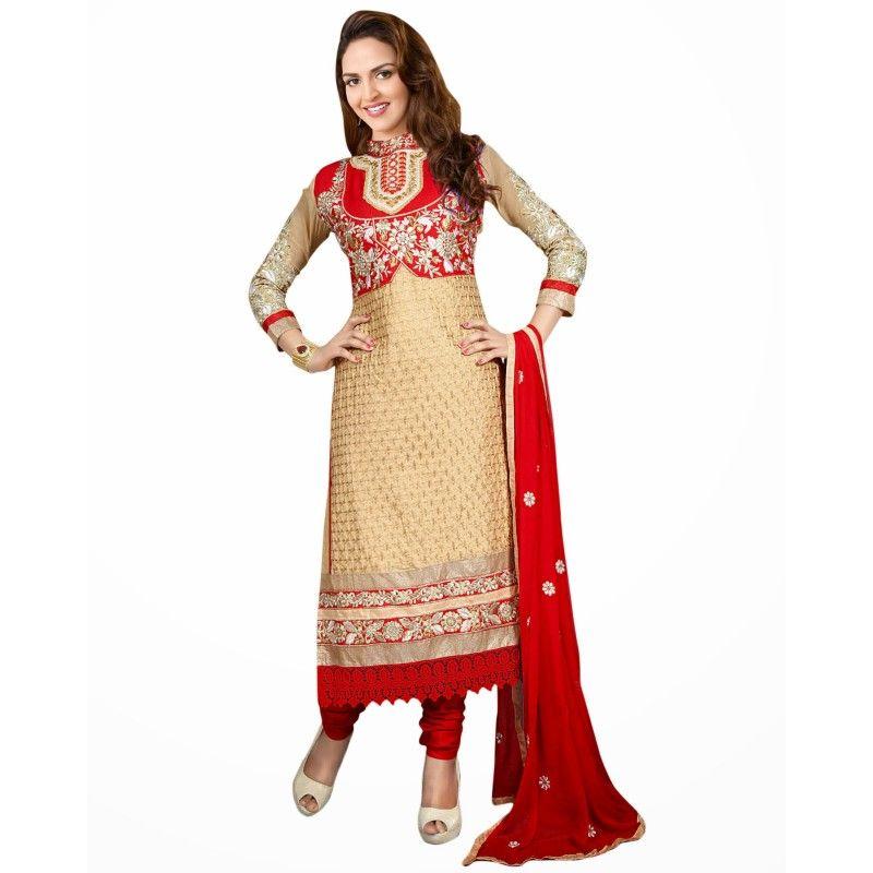Eid Special Designer Beige & Red Unstitched Straight Churidar Suit-8(ST-Esha Glory)