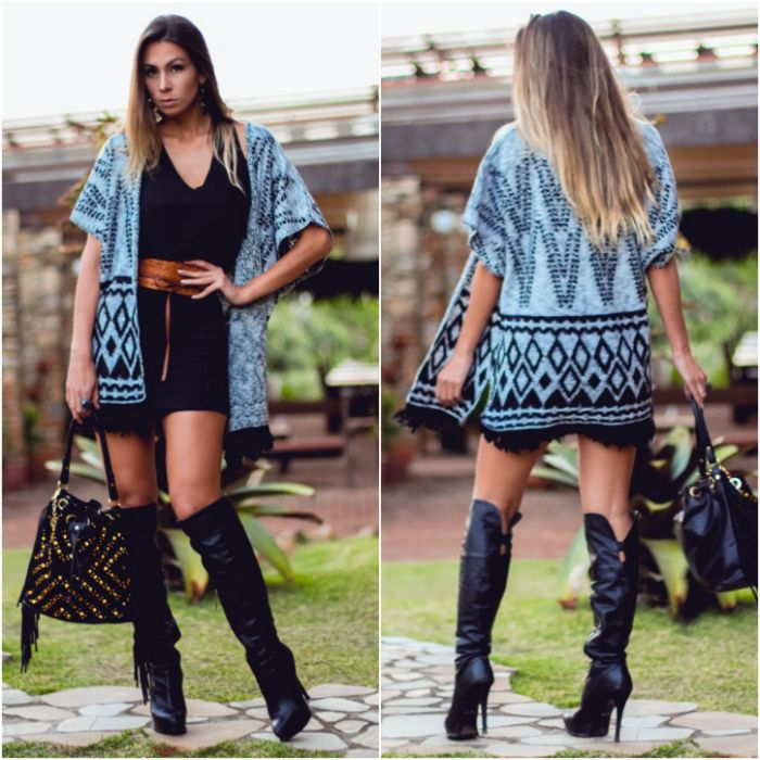 67a5633fa7 Look do dia Kimono de tricot- looks de inverno estilosos