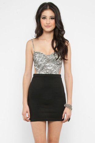 Lace Top Cutout Dress in Black $38 at www.tobi.com