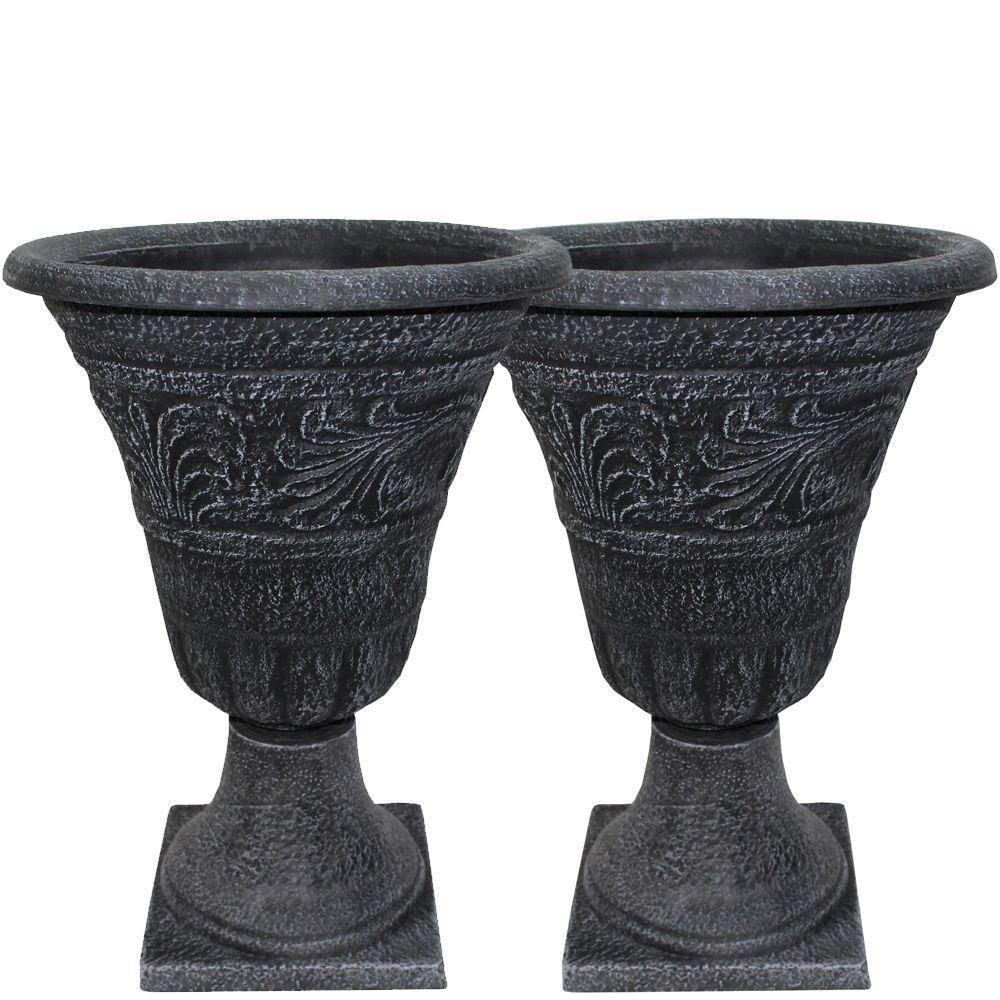 Tumbled Scroll 16 In Weathered Black Urn Pack 2 Pack 400 x 300