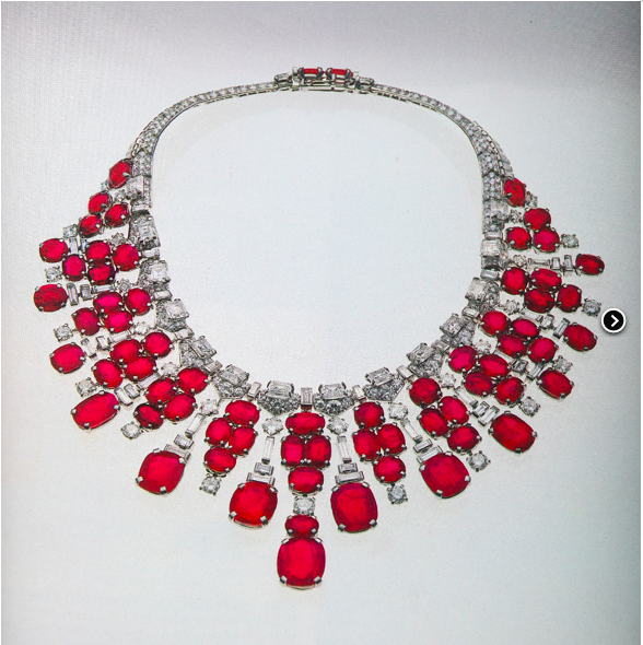 This Cartier ruby and diamond necklace was rumored to have been bought by Ganna Walska at a Sotheby's auction.