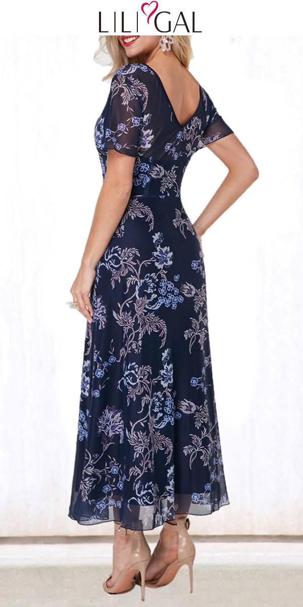 USD41.10  Navy Blue Flower Print Round Neck Short Sleeve V Back Layered Maxi Dress #navyblueshortdress