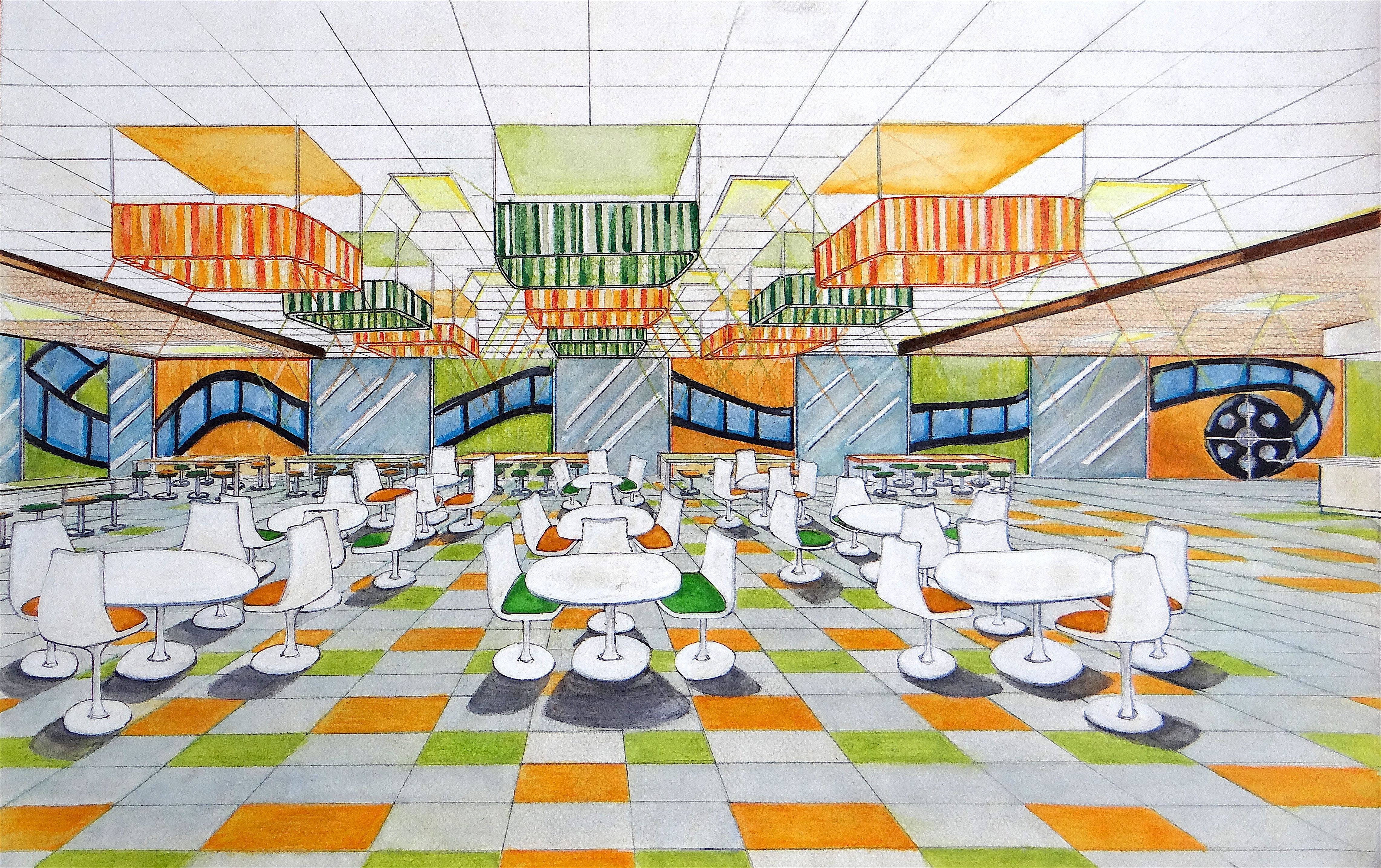 Perspective Of A Film School S Canteen Animation Schools Film School School