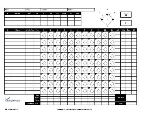 Baseball Scoresheet  Free Download  Scores