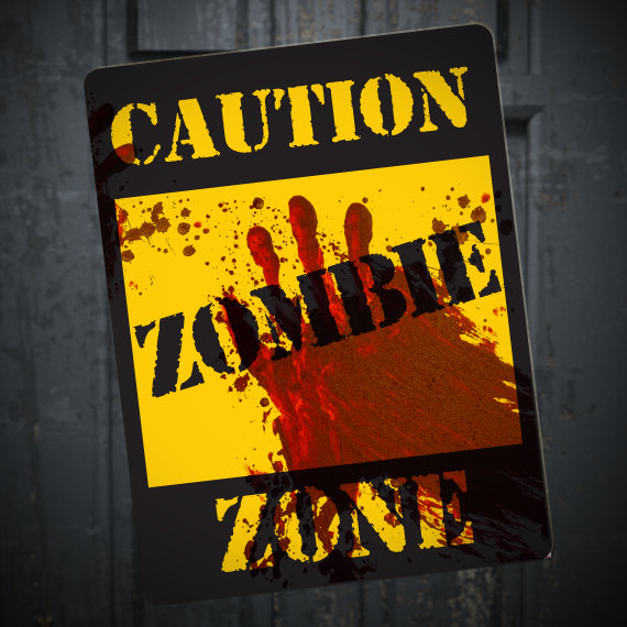 Zombie Caution Sign, Printable DIY Halloween Walking Dead Party Decoration, Blood Spatter, Horror party, Zombie Apocalypse Party Decor #zombieapocalypseparty