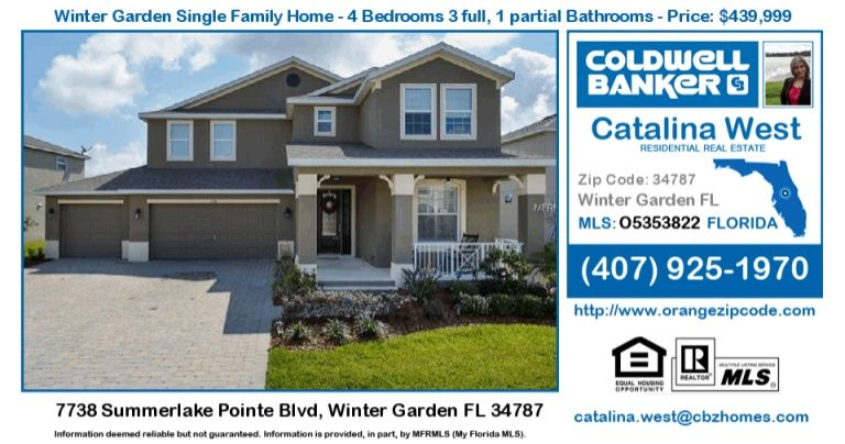 homes for sale in wintergarden 7738 summerlake pointe blvd winter garden fl 34787 single family home for sale in zipcode 34787 7738 summerlake pointe - Winter Garden Fl Zip Code