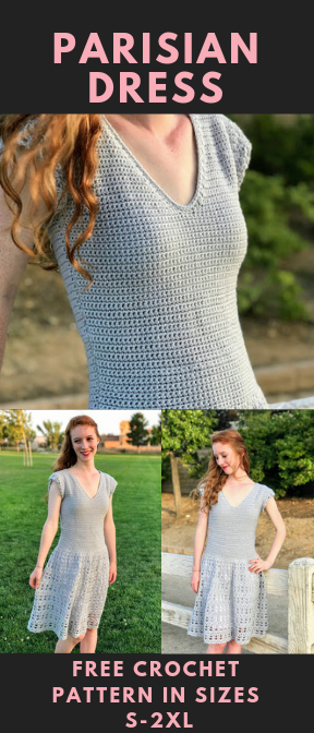 Free Crochet Dress Pattern: The Parisian Dress #crochetdress