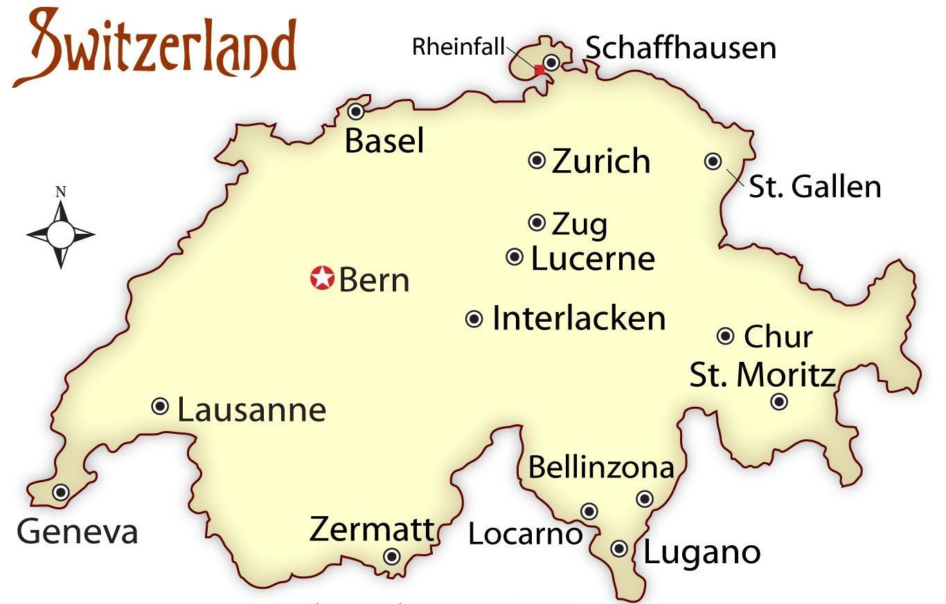 Map of Switzerland showing the location of Zurich | Tuchman Travel Zurich Switzerland Map on