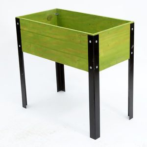 Elevated Planters 32x16 Raised Planter Boxes Green Wood Flower Pots Metal Legs Raised Planter Boxes Planter Boxes Raised Planter